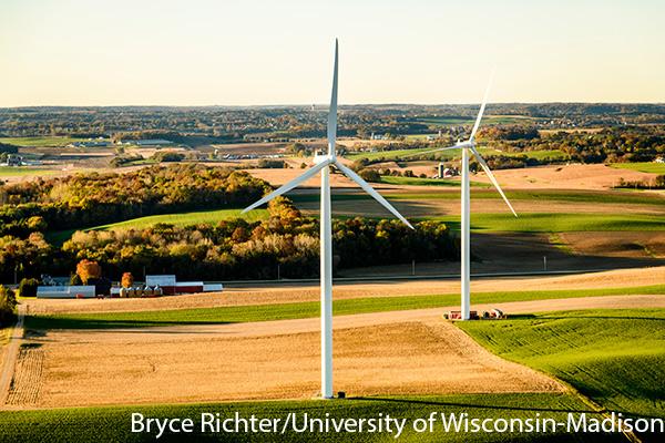 Windmills on farmland