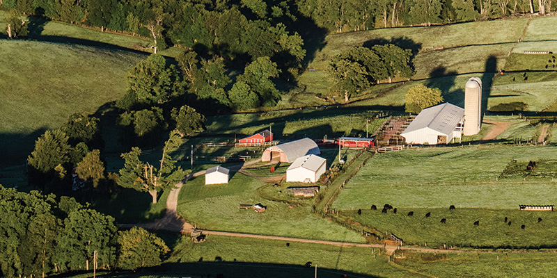 overhead view of a farm
